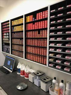 Hair-Salon Color Storage, Hair-Salon Color Rack, Hair-Salon Color Organizer - Decoration For Home Home Hair Salons, Beauty Salon Interior, Home Salon, Salon Interior Design, Beauty Salon Decor, Beauty Salon Design, Small Beauty Salon Ideas, Small Salon Designs, Small Hair Salon