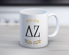 DZ Delta Zeta Letters Mug // Sorority Coffee Mug by UptownGreek on Etsy https://www.etsy.com/listing/474253737/dz-delta-zeta-letters-mug-sorority