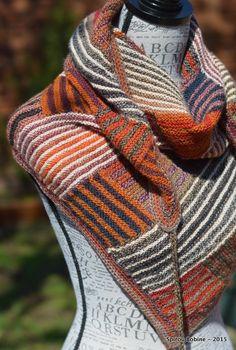 Log Cabin Shawl - a pattern of Cassie Castillo - knitted by Spirou Bobine, with CrazyZauberball yarn