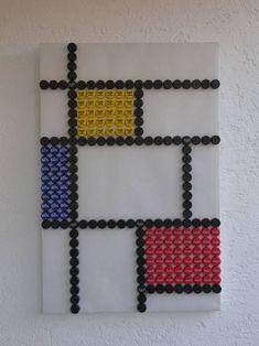 """Saatchi Art Artist RRR T R I P P L E - R; Collage, """"SOLD Cola Like De Stijl RBC Recycling Bottle Cap"""" #art"""