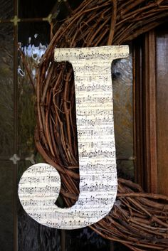 Modge podge sheet music letter  I want to make this for my niece!