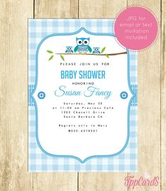 Owl Baby Shower Invitations Owl Baby Shower Invites Printable Invitations in Blue Gingham Instant Download First Birthday 0054A TppCards by TppCardS #tppcards #printable #invitations
