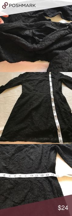"""H&M Long Sleeve Lace Dress with Keyhole Back All Lace Long Sleeve Fitted but not clingy bodycon Mini Dress Keyhole Open Back Side Zip and Neck Zip too! Light Slip Lining on Top Unique.  H&M US Size 8 (fits like Medium) LOVE THIS re-posh but just too short for my 5'11"""" height :( H&M Dresses"""