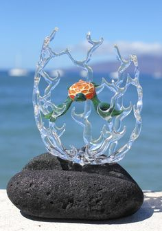 Hawaiian Sea Turtle in coral glass sculpture by MauiGreenstone, $289.00