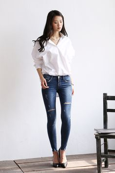 Casual Outfits, Fashion Outfits, Womens Fashion, Seolhyun, Sexy Jeans, Korean Model, Skinny Pants, Jeans Style, Asian Woman