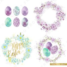 Easter Watercolor ClipArt Intant Download Digital by froufroucraft