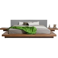 This modern bed will make a great addition to your bedroom collection. It features a platform and nightstands in a beautiful walnut finish. Nightstands are included. King Size Platform Bed, Modern Platform Bed, Platform Beds, King Furniture, Bedroom Furniture, Wood Furniture, Furniture Ideas, Minimalist Bedroom, Modern Bedroom