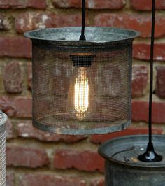 Hanging Industrial Light - Vintage Galvanized Wire Cricket Basket Hanging Lamp - Unique Glow