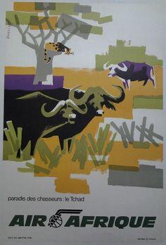 AIR AFRIQUE le Tchad paradis du chasseur AFFICHE ORIGINALE ANCIENNE/555