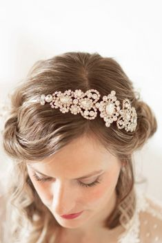 Rose Gold Crystal Bridal Headband #221HB