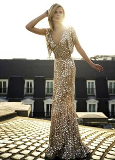 glittery gold gown