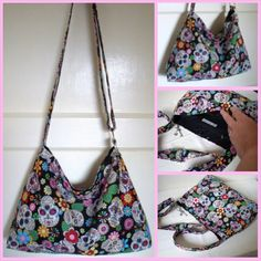 Sugar Skulls / Day of the Dead Slouchy Messenger bag with adjustable cross body strap by Sew~Kura
