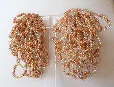 Vintage Mid Century Handcrafted Seed Glass Beads Dangle Earrings. by Bestintreasures on Etsy