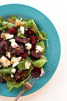 Roasted Beet & Goat Cheese Salad from @kitchenmagpie