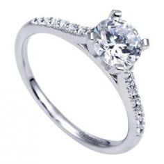 Gabriel and Co Contemporary Cathedral Semi-Mount Engagement Ring made with 14K White Gold style ER7988W44JJ. Happy owner of such a gold ring with a sparkling diamond will be visible even from the unknown depths of space!