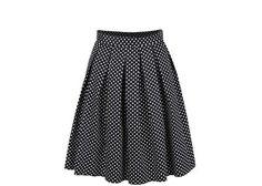 Černá skládaná sukně s bílými puntíky Dorothy Perkins
