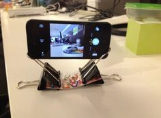 Binder Clips + Business Card = iPhone Tripod