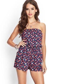 Forever21 Combishort Style Bandeau Imprimé Roses   Femmes - Vêtements - Combinaisons