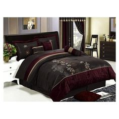 7 Pcs Luxury Embroidery Floral Comforter Set Bed In A Bag Queen Burgundy/Brown