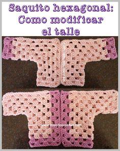 Saquito o camperita a crochet o ganchillo para bebé tejido con 2 hexágonos: Cómo modificar el talle