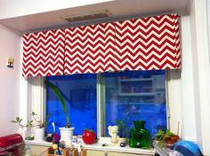 Streamlined valance w pleat Chevron Valance, Valance Curtains, Kitchen Valances, Window Styles, Humble Abode, Window Treatments, Windows, Curtain Ideas, House