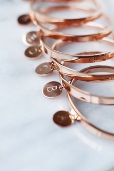Rose gold bracelets for your bridesmaids!
