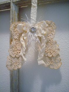 Shabby Fabric Angel Wings French Country Cottage Style Angel Wings Wall Decor Lace Doily Wings