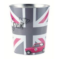 Corbeille à papier en métal grise/rose H 27 cm BRITISH GIRL | Maisons du Monde