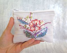 Floral embroidered coin purse, Handmade upcycled fabric change wallet by sewingfairydust on Etsy