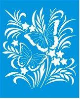 Stencil de Borboletas em ramo de flor 17 x 21cm - STM 303 Mais