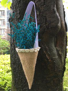 1pc colgante arpillera cordón cesta Pew cono por handmadesupplyer