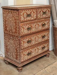 View this item and discover similar for sale at - A tall chest of drawers with bone inlay in a Classic pattern, from India. Five drawers with brass pulls. Black Drawers, Chest Of Drawers, Antique Sideboard, Wooden Furniture, Teak, Bones, Antiques, Classic, Pattern