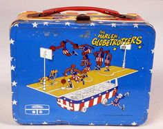 A Moveable Feast: The History of Early and Collectible American Lunchboxes - A Harlem Globetrotters lunch box in the Taking America to Lunch display.