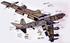 USAF, B-52H, Stratofortress, Buff, Navigators, Aviatrix, Boeing, Cockpit, Bombázó, Stratégiai, Cutaway, 3 view drawings, Instrument panel,