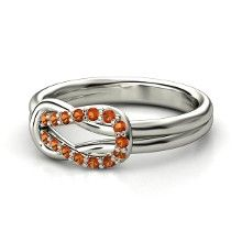 Palladium Ring with Fire Opal. Loop Knot Ring. $845 in palladium / Fire Opal