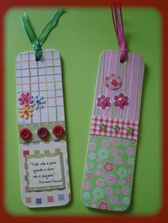 Marcador de livro | Cristina | Flickr Homemade Bookmarks, Diy Bookmarks, Corner Bookmarks, Crochet Bookmarks, Card Tags, Gift Tags, Smash Book Planner, Book Markers, Crafts For Seniors