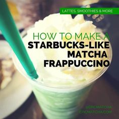The Starbucks Matcha Frappuccino is a cool, creamy, calming concoction. and you can have nearly the same divine drink at home or at the office, with the help of only a few ingredients and a blender. Green Tea Frappucino Recipe, Matcha Frappe Recipe, Frappuccino Recipe At Home, Green Tea Frappucino Starbucks, Starbucks Matcha Frappuccino Recipe, Starbucks Matcha Green Tea Latte Recipe, Matcha Drink, Matcha Smoothie, Tea Smoothies
