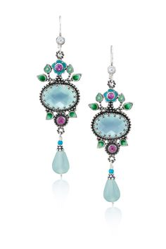 Spring Flower Earrings with Aqua Chalcedony and Ruby