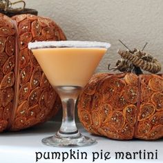 Pumpkin Pie Martini - 1 oz pumpkin liqueur, 1/2 oz butterscotch schnapps, 1/2 oz Bailey's, 1/2 oz. cream (or half and half).