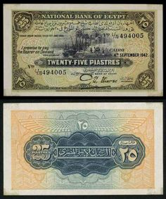 Description: A beautiful very fine banknote from Egypt. This is the Cairo December very desirable 25 piastres banknote issued by the National Bank of Egypt. The date represents the first da Old Egypt, Ancient Egypt, Ancient History, Old Coins, Rare Coins, Money Notes, Old Money, Key Dates, Gray Background