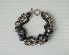 Men bracelet of black Obsidian stone and big black chunky chain, men fashion by Tree Craft Diary