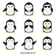 Emoticonos planos de pingüino fantástico Vector Gratis
