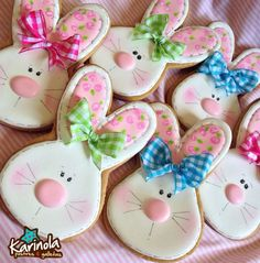 Bunnies with Gingham Bows Cookies Fancy Cookies, Iced Cookies, Cute Cookies, Holiday Cookies, Cupcake Cookies, Sugar Cookies, Easter Cupcakes, Easter Cookies, Easter Treats