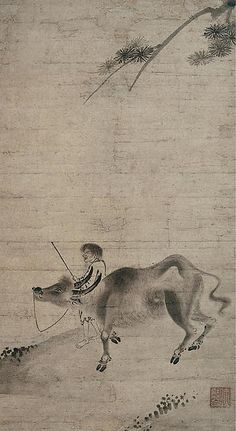 "Sekkyakushi (Japanese, active first half of the 15th century). Oxherding, first half of the 15th century. Muromachi period (1392–1573). Japan. The Metropolitan Museum of  Art, New York. Mary Griggs Burke Collection, Gift of the Mary and Jackson Burke Foundation, 2015 (2015.300.47) |  This work is exhibited in the ""Celebrating the Arts of Japan: The Mary Griggs Burke Collection"" exhibition, on view through January 22, 2017 #AsianArt100"
