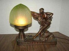 Art Deco Bronze Spelter Lamp   Figural Nude & Green Slag Glass Shade   c1920's