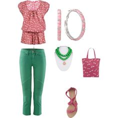 A little pink and green, created by linda-aydelette on Polyvore