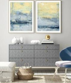 blue and yellow wall art - Google Search