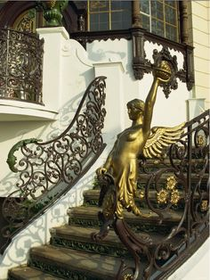 Art nouveau staircase at Hanava Pavilion in Prague. - very lovely