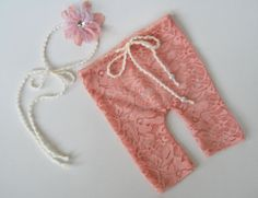 Lace Newborn Pants and Tieback Headband by LovelyBabyPhotoProps, $21.50