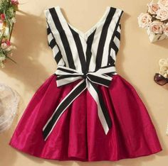 V-Neck Striped Tutu Dress Stitching A 090537 · Eternal · Online Store Powered by Storenvy Frocks For Girls, Kids Frocks, Dresses Kids Girl, Baby Pageant Dresses, Maxi Dresses, Girls Frock Design, Baby Dress Design, Kids Dress Wear, Baby Frocks Designs